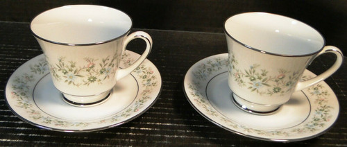 Noritake Savannah Tea Cup Saucer Sets 2031 Green White Floral 2 | DR Vintage Dinnerware Replacements
