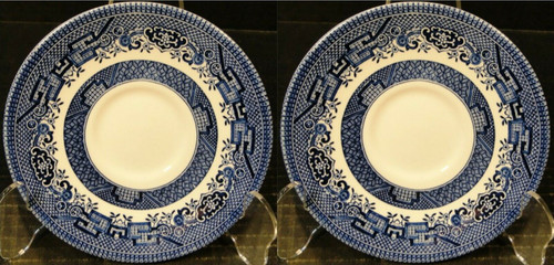 2 SET OF TWO CHURCHILL  PATTERN  BLUE WILLOW   ENGLAND CUP /& SAUCER