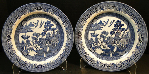 Churchill Blue Willow Dinner Plates 10 1/4 England | DR Vintage Dinnerware Replacements
