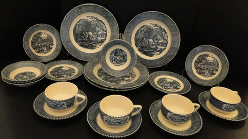 Royal China Currier Ives 20 Piece Four Place Settings Starter Set | DR Vintage Dinnerware Replacements