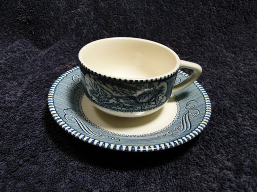 Currier Ives Royal China Blue White Tea Cup Saucer Set | DR Vintage Dinnerware Replacements