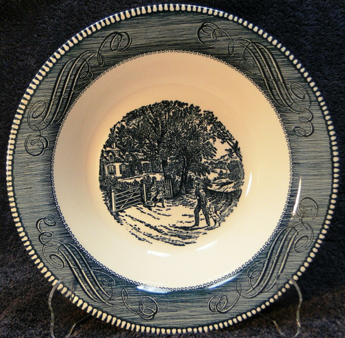 """Currier Ives Royal China Blue White Vegetable Serving Bowl 10 1/8"""" Home Sweet Home 