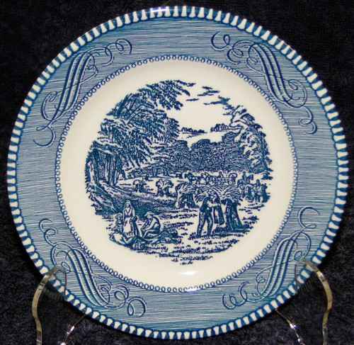 "Royal China Currier Ives Blue White Bread Plate 6 3/8"" The Harvest 