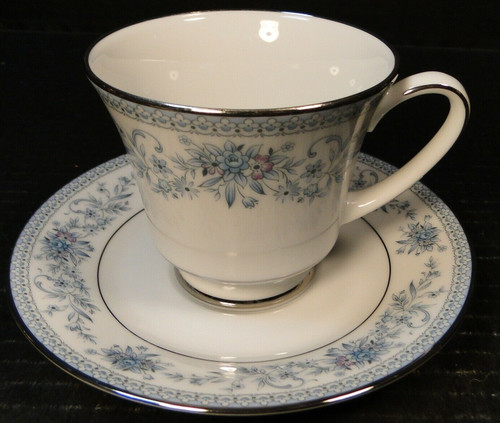 Noritake Blue Hill Tea Cup Saucer Set 2482 Blue White Floral | DR Vintage Dinnerware Replacements