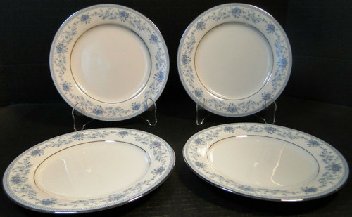 "Noritake Blue Hill Salad Plates 8 1/4"" 2482 Blue Floral Set of 4 
