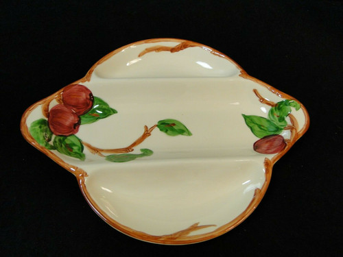 """Franciscan Apple 3 Part Relish Platter 11 7/8"""" Vintage USA TV Stamp 