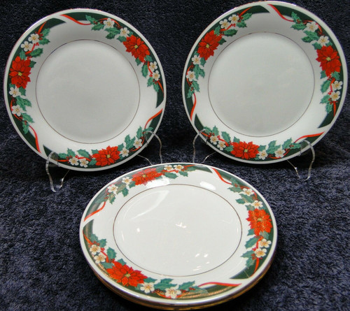 """Tienshan Deck the Halls Salad Plates 7 1/2"""" Christmas Poinsettia Set of 4 