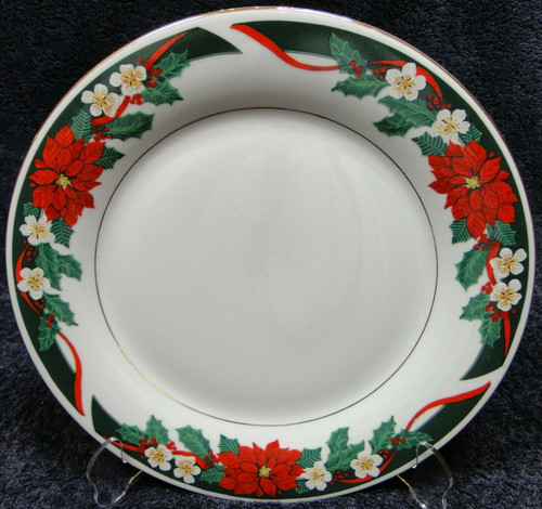 "Tienshan Deck the Halls Dinner Plate 10 5/8"" Christmas Poinsettia 