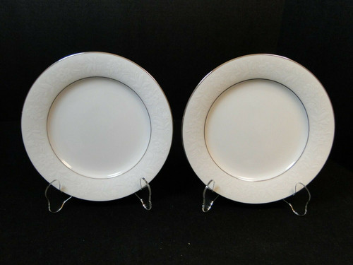 """Noritake Ranier Salad Plates 8 1/4"""" 6909 White on White Set of 2 