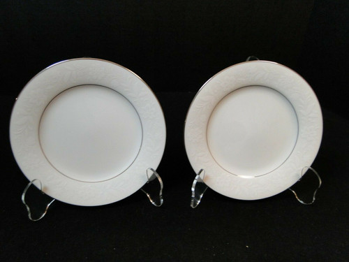 "Noritake Ranier Bread Plates 6 1/4"" 6909 White on White Set of 2 