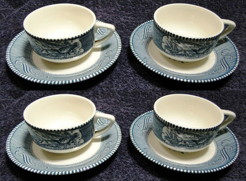 Royal China Currier Ives Blue White Tea Cup Saucer Sets 4 | DR Vintage Dinnerware and Replacements