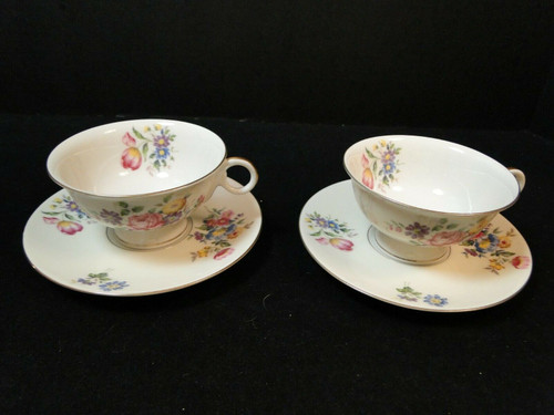 Theodore Haviland NY Pasadena Tea Cup Saucer Sets 2 | DR Vintage Dinnerware and Replacements