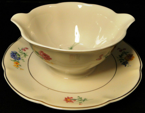 Theodore Haviland NY Chapelle Gravy Boat with Attached UnderPlate | DR Vintage Dinnerware Replacements