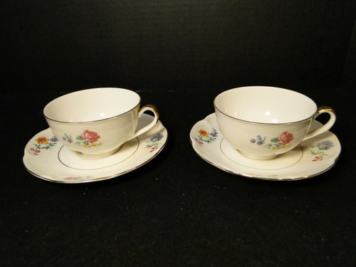 Theodore Haviland NY Chapelle Tea Cup Saucer Sets 2 | DR Vintage Dinnerware Replacements