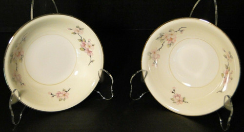"Homer Laughlin Apple Blossom Berry Bowls 5 1/4"" Fruit Dessert Set of 2 