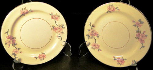 "Homer Laughlin Eggshell Nautilus Apple Blossom Bread Plates 6"" Set 2 