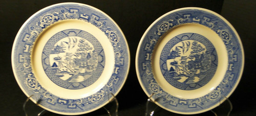 "Homer Laughlin Blue Willow Bread Plates 6 1/4"" Set of 2 