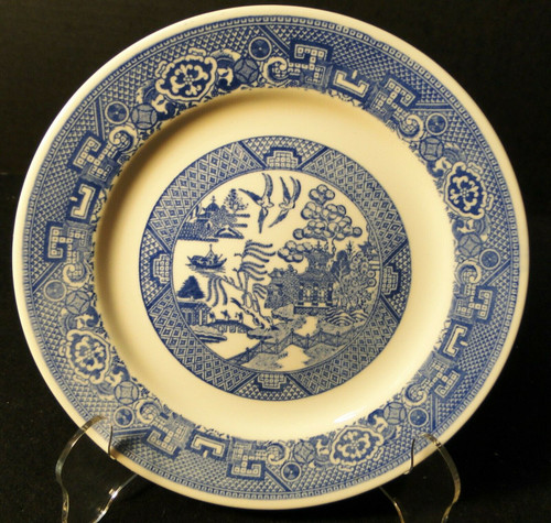"Homer Laughlin Blue Willow Salad Plate 7 1/4"" Pie Dessert 