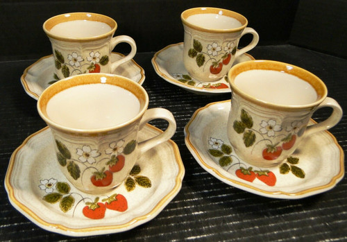 Mikasa Strawberry Festival Tea Cup Saucer Sets EB 801 4 | DR Vintage Dinnerware Replacements