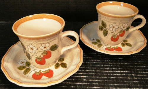 Mikasa Strawberry Festival Tea Cup Saucer Sets EB 801 2 | DR Vintage Dinnerware Replacements