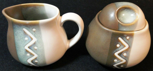 Sango Zigzag Creamer Sugar with Lid Set 4012 | DR Vintage Dinnerware Replacements