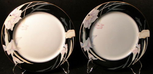 "Mikasa Charisma Black Salad Plates 7 1/2"" L 9050 Japan Set of 2 