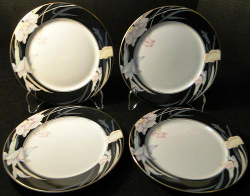 "Mikasa Charisma Black Salad Plates 7 1/2"" L 9050 Japan Set of 4 | DR Vintage Dinnerware Replacements"