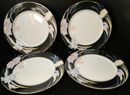 "Mikasa Charisma Black Dinner Plates 10 5/8"" L 9050 Japan Set of 4 | DR Vintage Dinnerware Replacements"