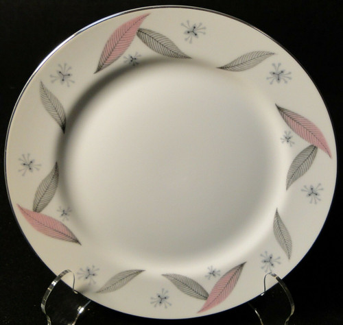 "Narumi Serenade Salad Plate 7 1/2"" Japan Pink Gray Leaves 