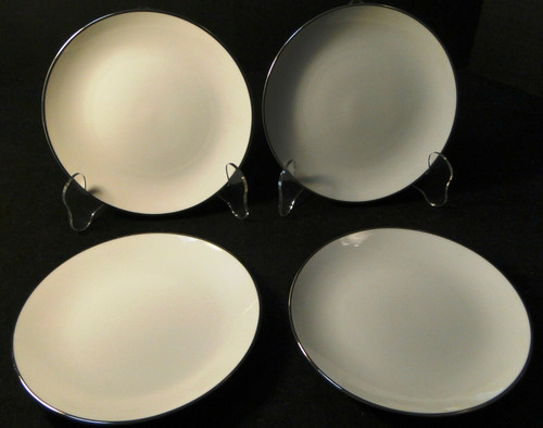 """Noritake Fremont Bread Plates 6 1/4"""" 6127 White Plat Trim Set of 4  