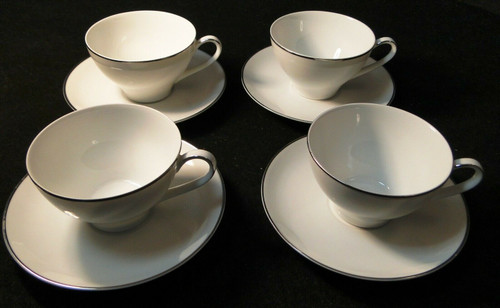 Noritake Fremont Tea Cup Saucer Set 6127 White Plat Trim Sets of 4  | DR Vintage Dinnerware and Replacements