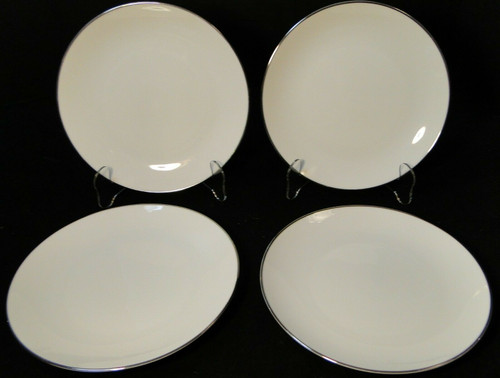 """Noritake Fremont Salad Plates 8 1/4"""" 6127 White Plat Trim Set of 4  