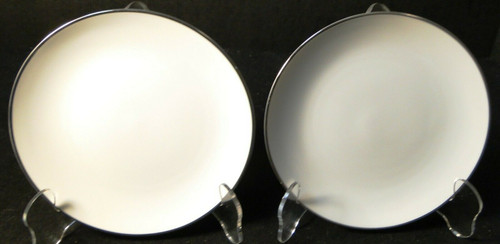 """Noritake Fremont Bread Plates 6 1/4"""" 6127 White Plat Trim Set of 2  