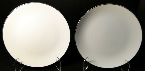"""Noritake Fremont Salad Plates 8 1/4"""" 6127 White Plat Trim Set of 2  