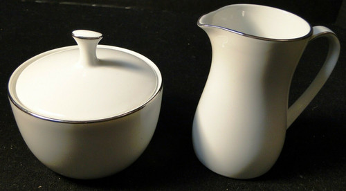 Noritake Fremont Creamer Sugar Bowl with Lid 6127 White Plat Trim  | DR Vintage Dinnerware and Replacements