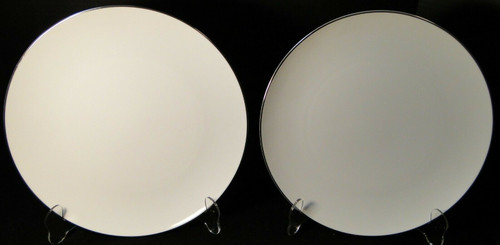 """Noritake Fremont Dinner Plates 10 5/8"""" 6127 White Plat Trim Set of 2  