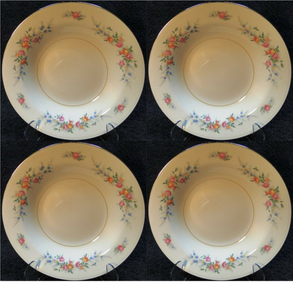 """Homer Laughlin Eggshell Nautilus Ferndale Soup Bowls 9 3/8"""" Set of 4   DR Vintage Dinnerware and Replacements"""