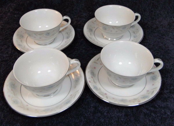 Fine China of Japan English Garden Footed Tea Cup Saucer Sets 1221 4   DR Vintage Dinnerware and Replacements