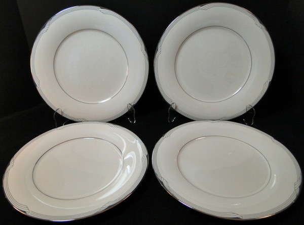 """Noritake Sterling Cove Dinner Plates 10 5/8"""" 7720 Silver Trim Set of 4 