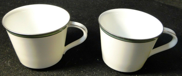 Noritake Royale Mint Tea Cups 6538 Green Band Set of 2 | DR Vintage Dinnerware and Replacements