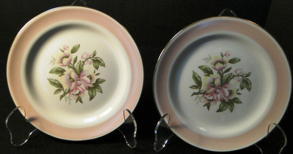 "Homer Laughlin Nautilus N1769 Bread Plates 61/4"" Pink Band Set of 2 