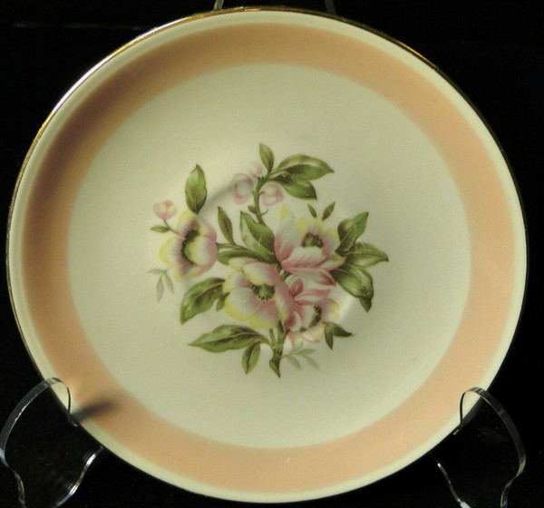 Homer Laughlin Nautilus N1769 Saucer Pink Band | DR Vintage Dinnerware and Replacements