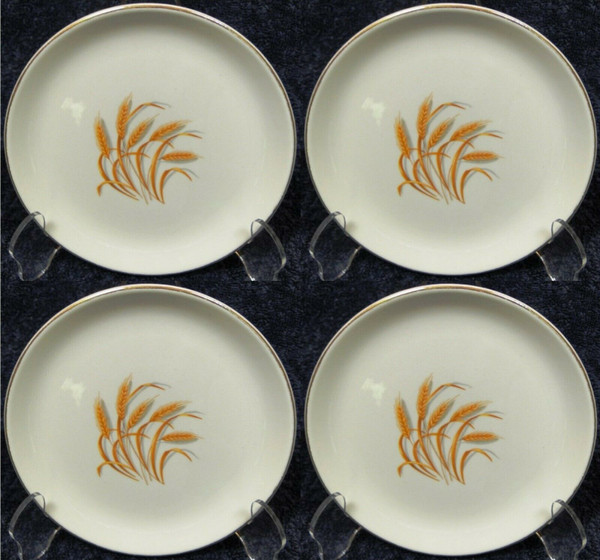 Homer Laughlin Golden Wheat Bread Plates Set of 4   DR Vintage Dinnerware and Replacements