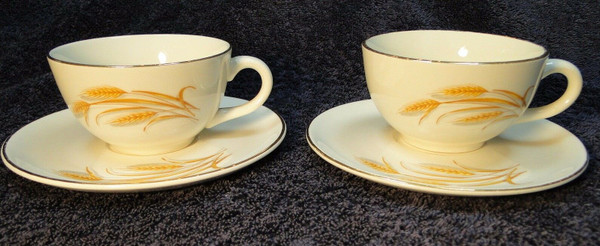 Homer Laughlin Golden Wheat Tea Cup Saucer Sets Vintage 2 | DR Vintage Dinnerware and Replacements