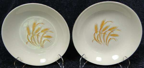 """Homer Laughlin Golden Wheat Soup Bowls 7 1/2"""" Salad Pasta Set of 2 
