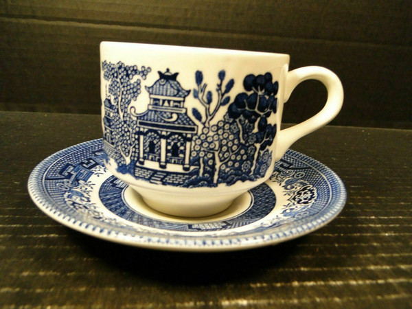 Churchill Blue Willow Blue White Cup Saucer Set England   DR Vintage Dinnerware and Replacements