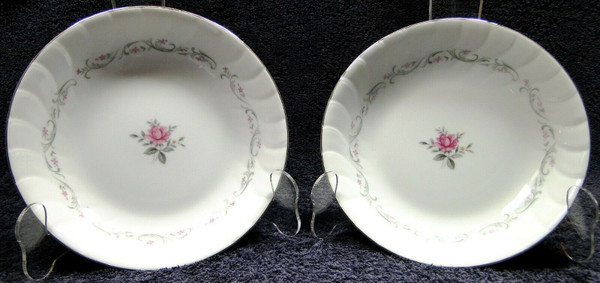 """Fine China of Japan Royal Swirl Soup Bowls 7 3/4"""" Salad Set of 2 