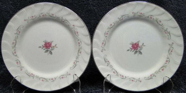 """Fine China of Japan Royal Swirl Salad Plates 7 5/8"""" Set of 2 