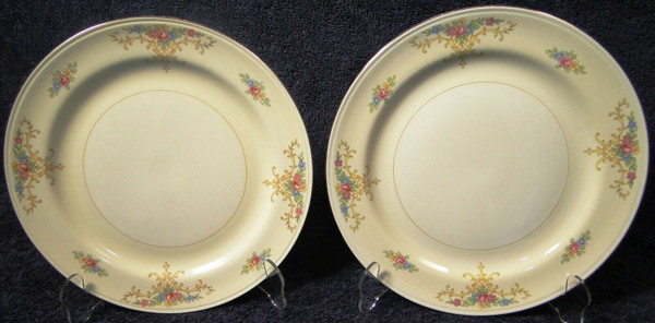 """Homer Laughlin Eggshell Nautilus Rochelle Dinner Plates 9 7/8"""" Set 2 