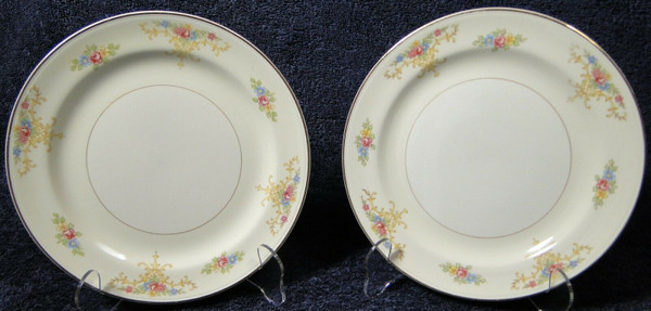 """Homer Laughlin Nautilus Rochelle Round Salad Plates 8 1/8"""" Set 2 Rare 